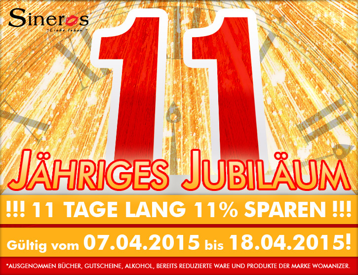11 Jahre SinEros - 11 Tage  lang 11 % Rabatt